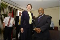 Image By Jason Dorday: Helen Clark speaks to media in Port Moresby PNG.